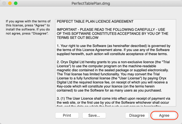 PerfectTablePlan Mac licence agreement