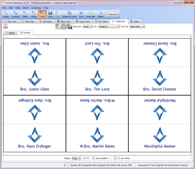 Masonic place cards with clipart