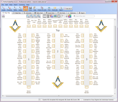 Masonic table plan with clipart